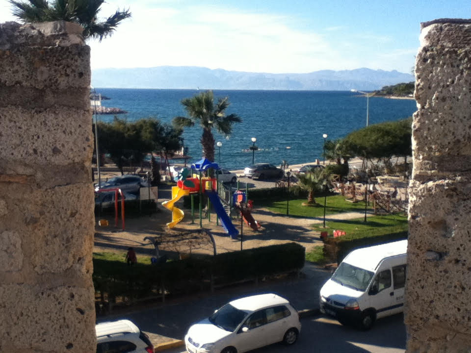 Cesme harbor looking out to the Greek island of Chios.