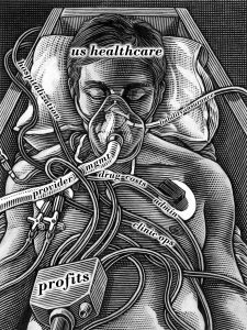 Patient on life support. Artwork showing a hospital patient plugged into life support equipment. This could also represent medical ethics and the decisions faced by medical staff when faced with critically or terminally ill patients and the financial and resource requirements of keeping them alive.